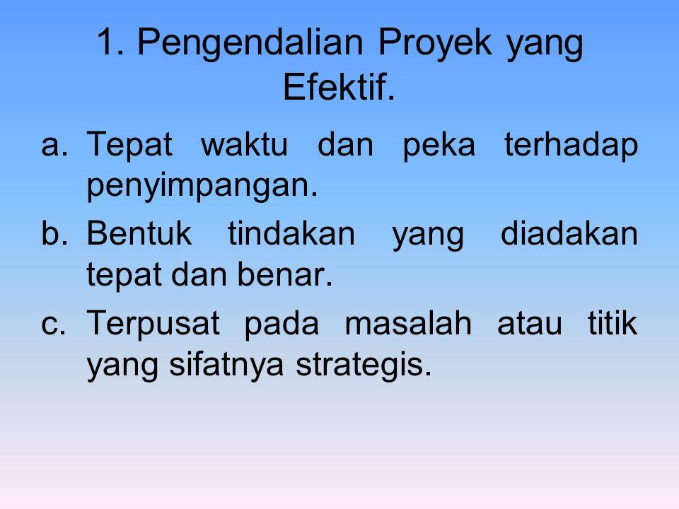 1. Pengendalian Proyek yang Efektif. a.Tepat waktu dan peka terhadap penyimpangan. b.Bentuk tindakan yang diadakan tepat dan benar. c.Terpusat pada ma