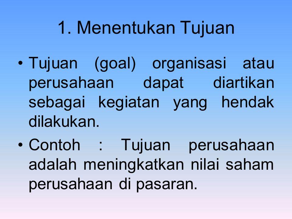 1. Menentukan Tujuan Tujuan (goal) organisasi atau perusahaan dapat diartikan sebagai kegiatan yang hendak dilakukan. Contoh : Tujuan perusahaan adala