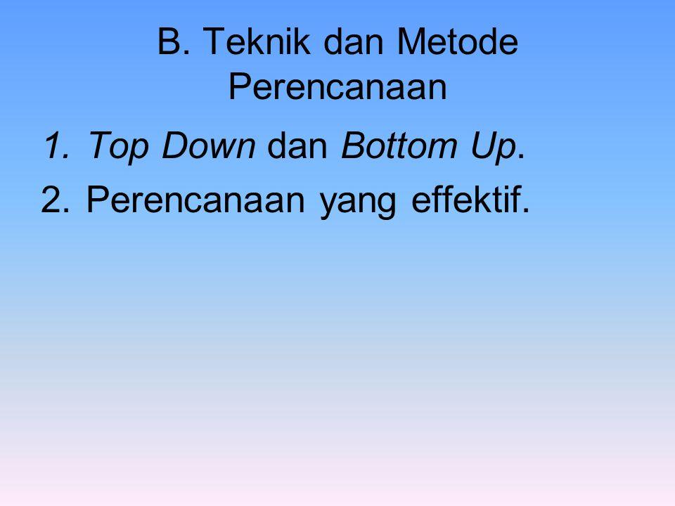 B. Teknik dan Metode Perencanaan 1.Top Down dan Bottom Up. 2.Perencanaan yang effektif.