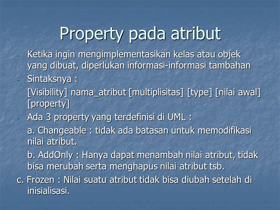 Property pada atribut - Ketika ingin mengimplementasikan kelas atau objek yang dibuat, diperlukan informasi-informasi tambahan - Sintaksnya : [Visibil