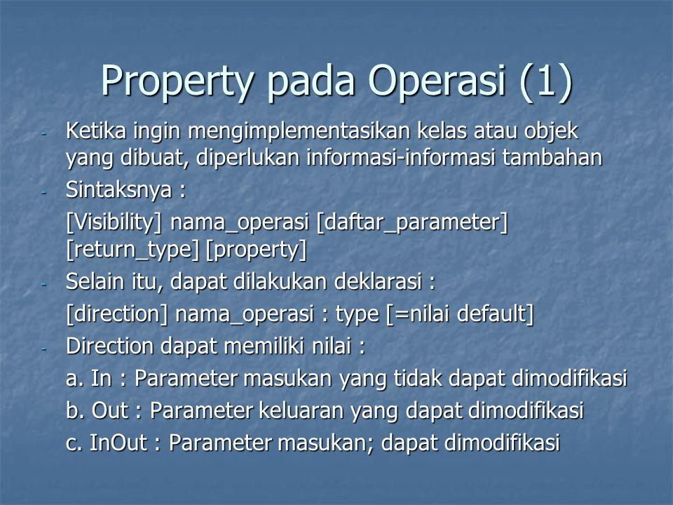 Property pada Operasi (1) - Ketika ingin mengimplementasikan kelas atau objek yang dibuat, diperlukan informasi-informasi tambahan - Sintaksnya : [Vis