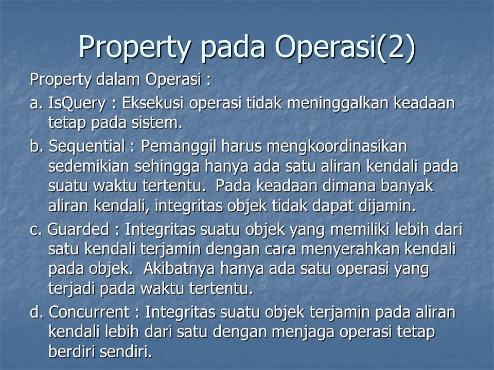 Property pada Operasi(2) Property dalam Operasi : a. IsQuery : Eksekusi operasi tidak meninggalkan keadaan tetap pada sistem. b. Sequential : Pemanggi