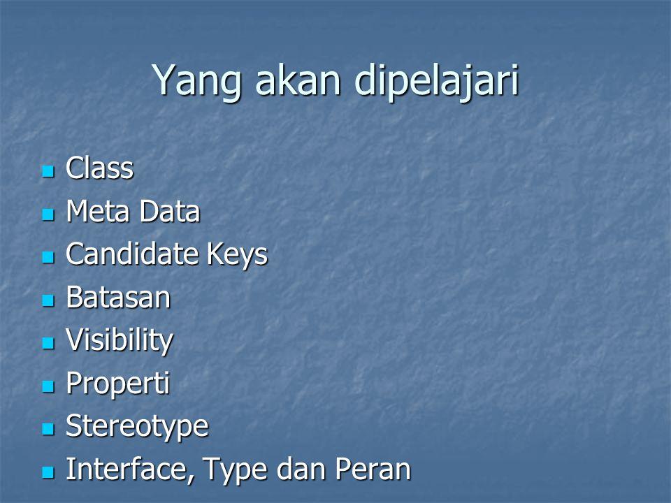 Yang akan dipelajari Class Class Meta Data Meta Data Candidate Keys Candidate Keys Batasan Batasan Visibility Visibility Properti Properti Stereotype