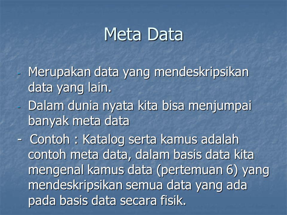 Meta Data - Merupakan data yang mendeskripsikan data yang lain. - Dalam dunia nyata kita bisa menjumpai banyak meta data - Contoh : Katalog serta kamu
