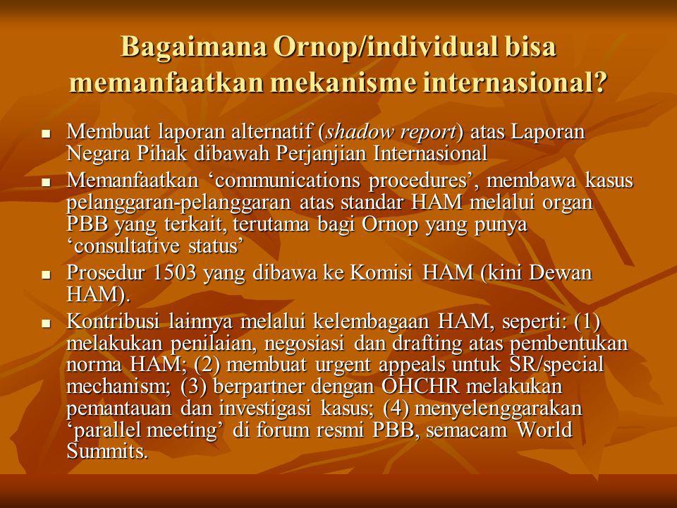 Bagaimana Ornop/individual bisa memanfaatkan mekanisme internasional? Membuat laporan alternatif (shadow report) atas Laporan Negara Pihak dibawah Per