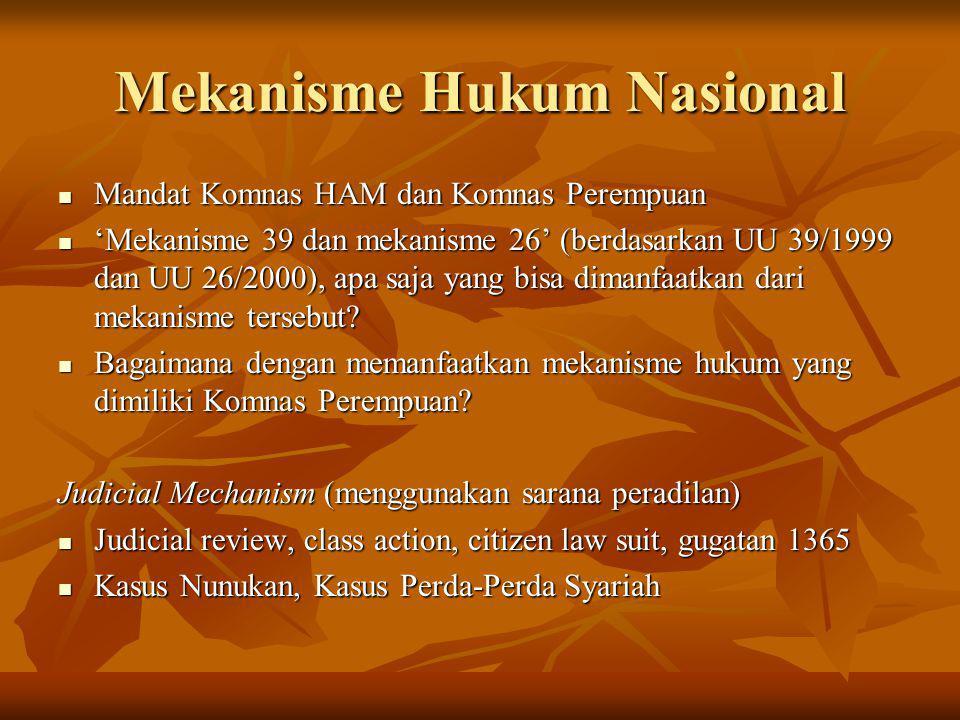 Mekanisme Hukum Nasional Mandat Komnas HAM dan Komnas Perempuan Mandat Komnas HAM dan Komnas Perempuan 'Mekanisme 39 dan mekanisme 26' (berdasarkan UU