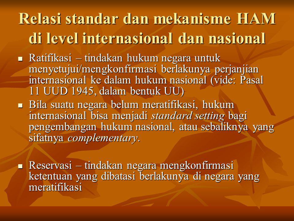 Relasi standar dan mekanisme HAM di level internasional dan nasional Ratifikasi – tindakan hukum negara untuk menyetujui/mengkonfirmasi berlakunya per