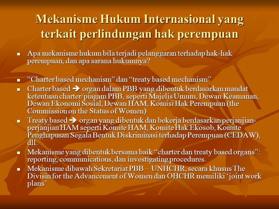 Mekanisme Hukum Internasional yang terkait perlindungan hak perempuan Apa mekanisme hukum bila terjadi pelanggaran terhadap hak-hak perempuan, dan apa
