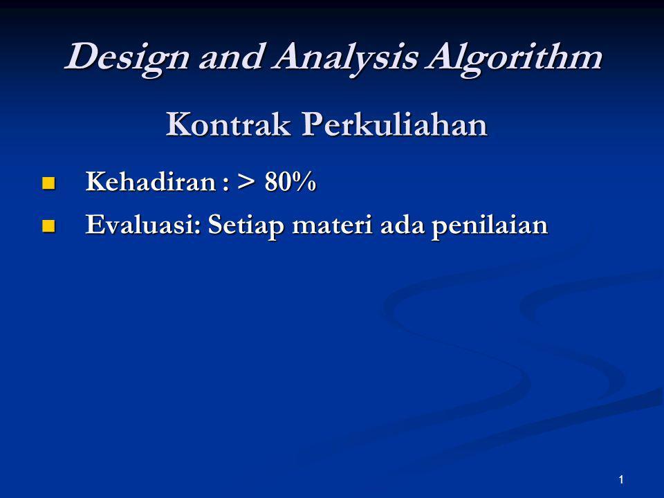 1 Kontrak Perkuliahan Kehadiran : > 80% Kehadiran : > 80% Evaluasi: Setiap materi ada penilaian Evaluasi: Setiap materi ada penilaian Design and Analy