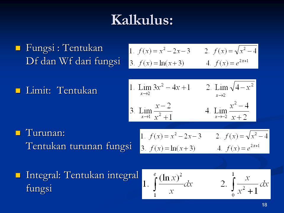 18 Kalkulus: Fungsi : Tentukan Df dan Wf dari fungsi Fungsi : Tentukan Df dan Wf dari fungsi Limit: Tentukan Limit: Tentukan Turunan: Tentukan turunan