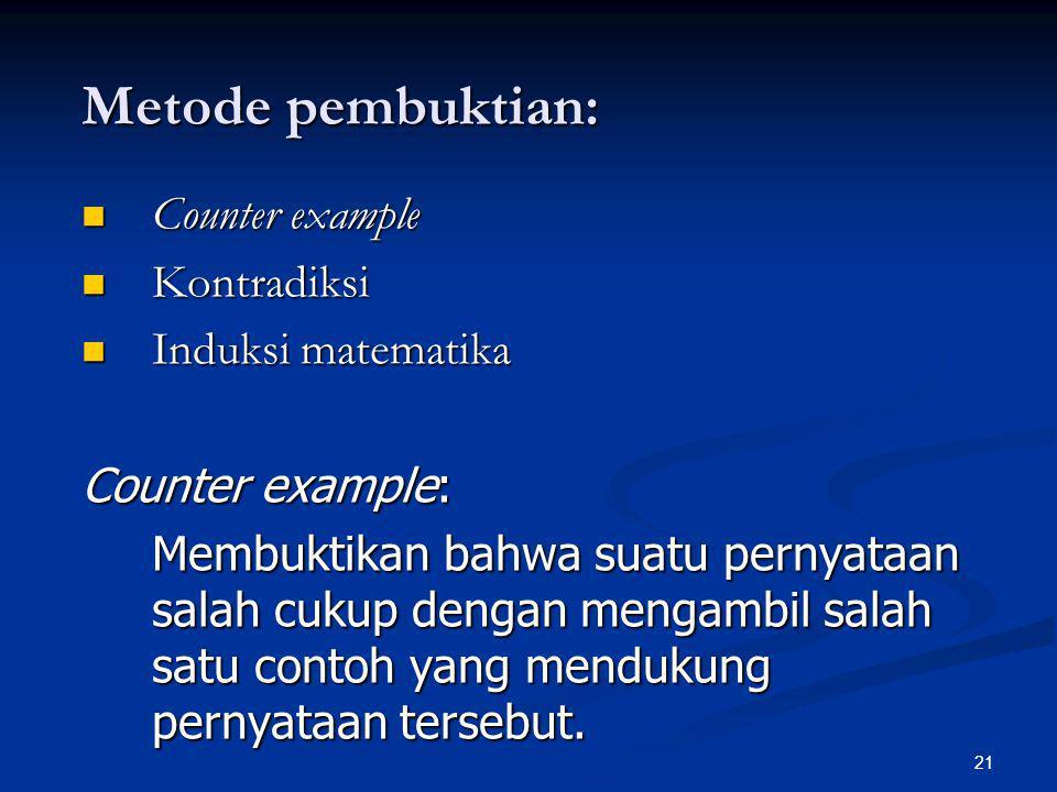 21 Metode pembuktian: Counter example Counter example Kontradiksi Kontradiksi Induksi matematika Induksi matematika Counter example: Membuktikan bahwa