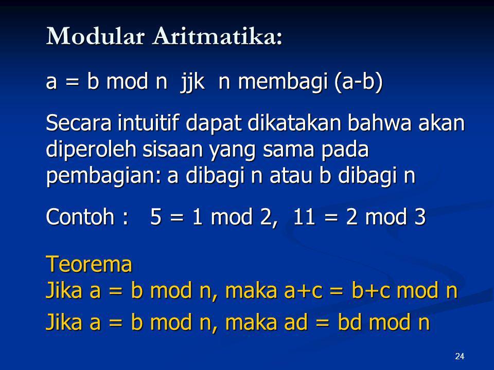 24 Modular Aritmatika: a = b mod n jjk n membagi (a-b) Secara intuitif dapat dikatakan bahwa akan diperoleh sisaan yang sama pada pembagian: a dibagi