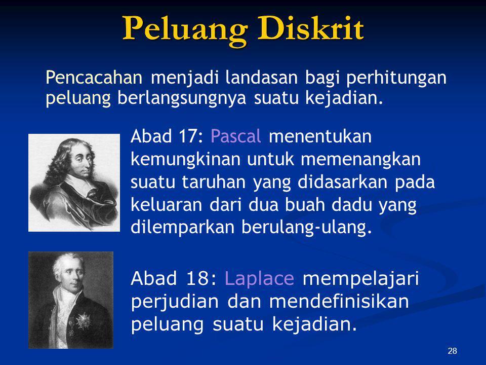 28 Peluang Diskrit Abad 18: Laplace mempelajari perjudian dan mendefinisikan peluang suatu kejadian. Pencacahan menjadi landasan bagi perhitungan pelu