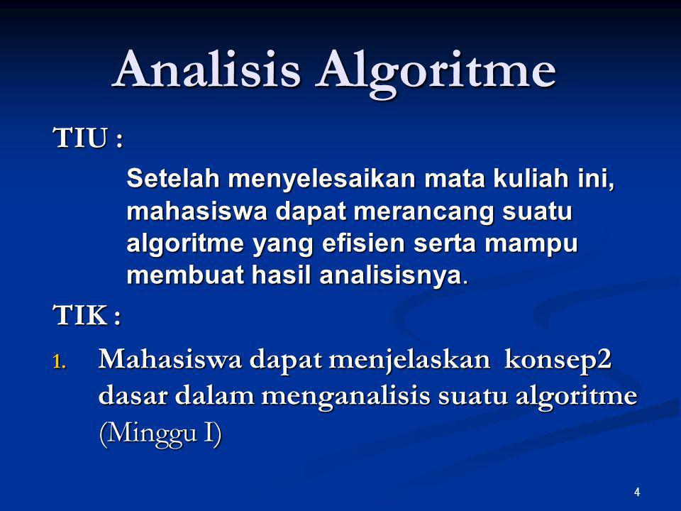 4 Analisis Algoritme TIU : Setelah menyelesaikan mata kuliah ini, mahasiswa dapat merancang suatu algoritme yang efisien serta mampu membuat hasil ana