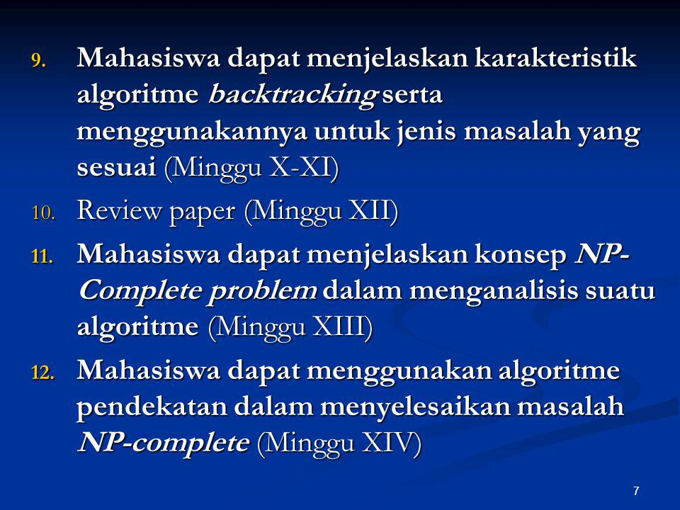 7 9. Mahasiswa dapat menjelaskan karakteristik algoritme backtracking serta menggunakannya untuk jenis masalah yang sesuai (Minggu X-XI) 10. Review pa