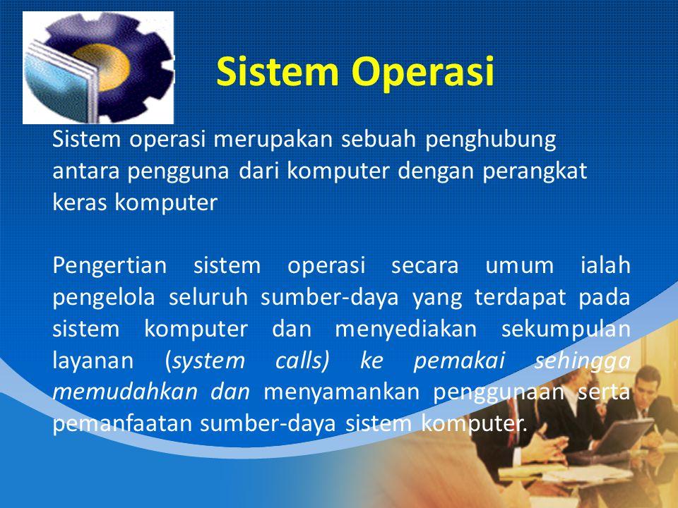 Fungsi Dasar Sistem komputer pada dasarnya terdiri dari empat komponen utama, yaitu perangkat- keras, program aplikasi, sistem-operasi, dan para pengguna.