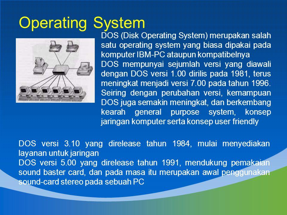Operating System DOS (Disk Operating System) merupakan salah satu operating system yang biasa dipakai pada komputer IBM-PC ataupun kompatibelnya DOS m