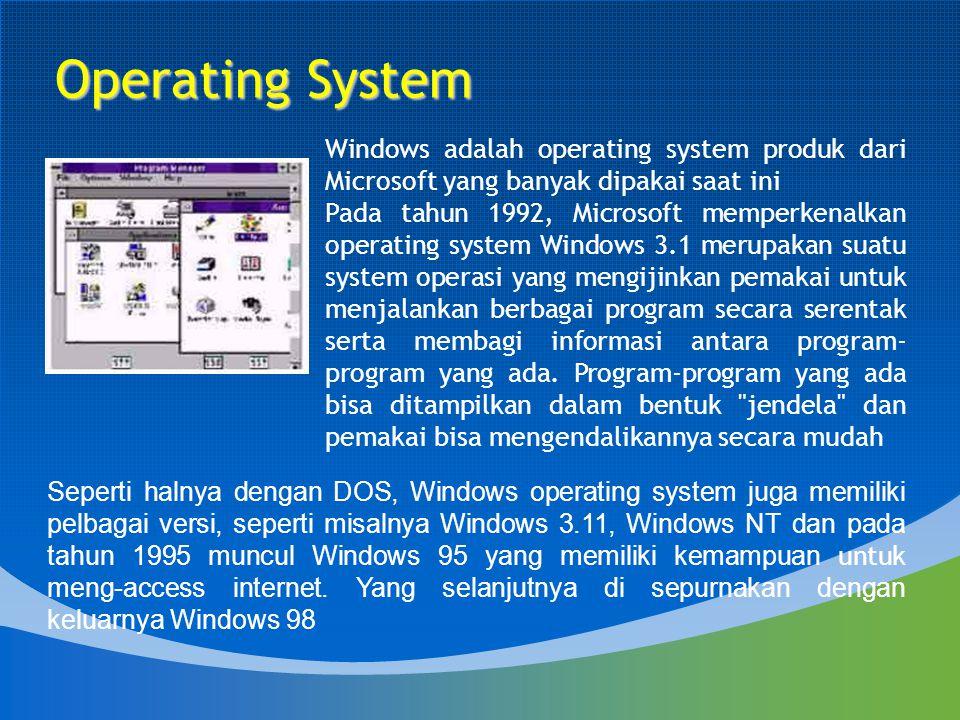 Windows adalah operating system produk dari Microsoft yang banyak dipakai saat ini Pada tahun 1992, Microsoft memperkenalkan operating system Windows