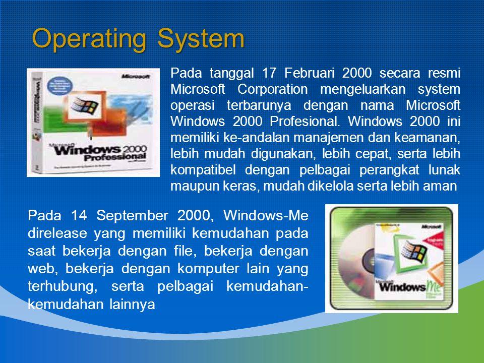 Pada tanggal 17 Februari 2000 secara resmi Microsoft Corporation mengeluarkan system operasi terbarunya dengan nama Microsoft Windows 2000 Profesional