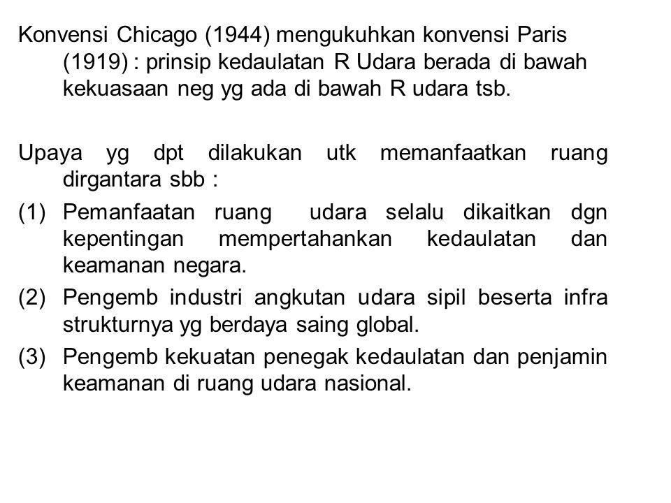 Konvensi Chicago (1944) mengukuhkan konvensi Paris (1919) : prinsip kedaulatan R Udara berada di bawah kekuasaan neg yg ada di bawah R udara tsb. Upay