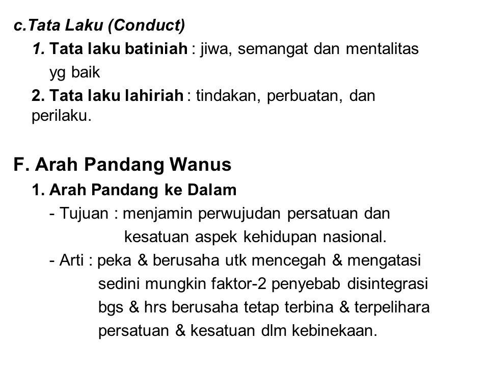 c.Tata Laku (Conduct) 1. Tata laku batiniah : jiwa, semangat dan mentalitas yg baik 2. Tata laku lahiriah : tindakan, perbuatan, dan perilaku. F. Arah