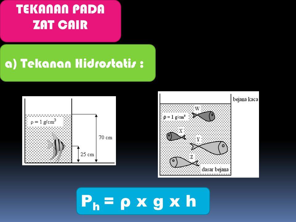 TEKANAN PADA ZAT CAIR a) Tekanan Hidrostatis : P h = ρ x g x h