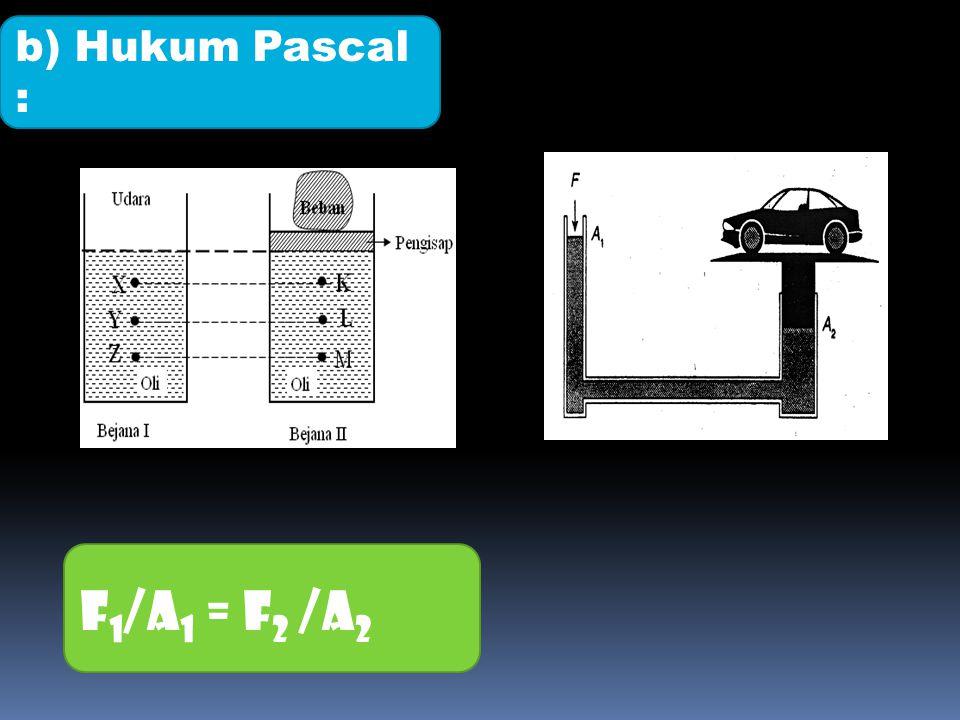 F 1 /A 1 = F 2 /A 2 b) Hukum Pascal :