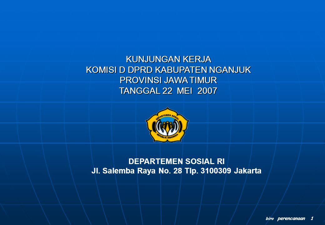 biro perencanaan 1 DEPARTEMEN SOSIAL RI Jl. Salemba Raya No. 28 Tlp. 3100309 Jakarta KUNJUNGAN KERJA KOMISI D DPRD KABUPATEN NGANJUK PROVINSI JAWA TIM