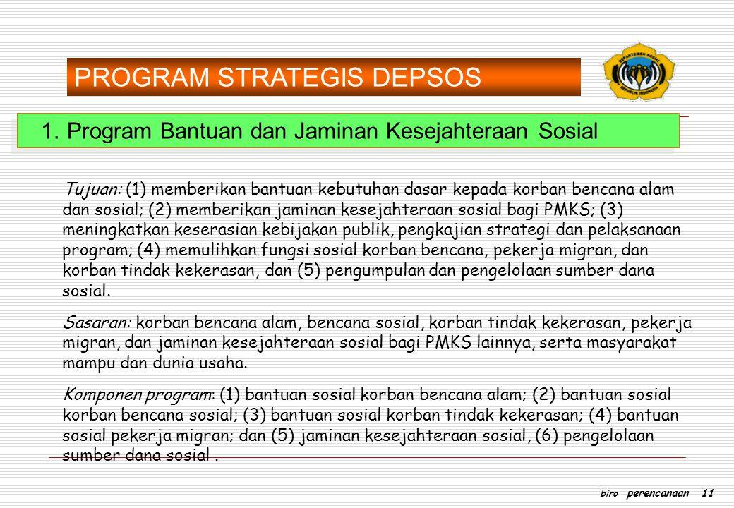 1.Program Bantuan dan Jaminan Kesejahteraan Sosial Tujuan: (1) memberikan bantuan kebutuhan dasar kepada korban bencana alam dan sosial; (2) memberika