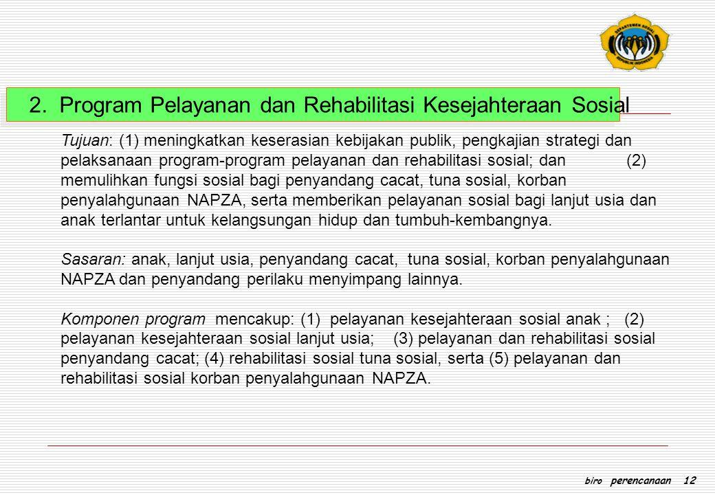 2. Program Pelayanan dan Rehabilitasi Kesejahteraan Sosial Tujuan: (1) meningkatkan keserasian kebijakan publik, pengkajian strategi dan pelaksanaan p