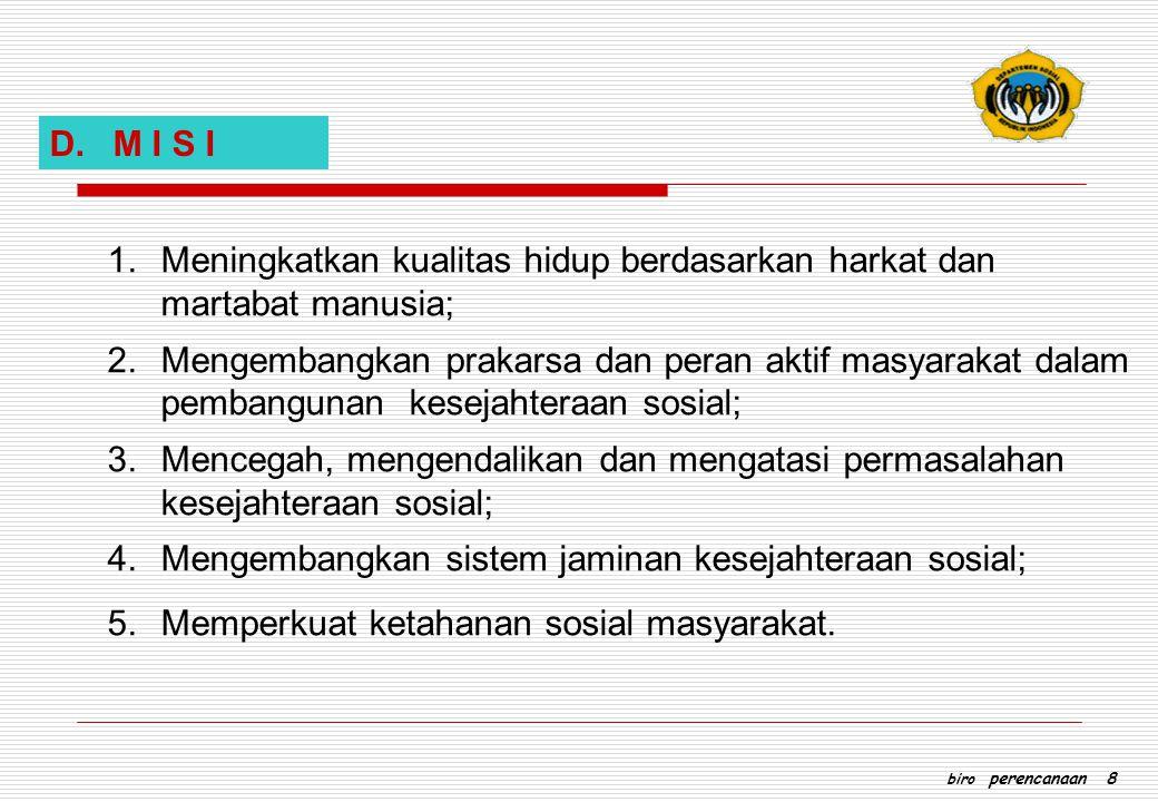 D. M I S I 1.Meningkatkan kualitas hidup berdasarkan harkat dan martabat manusia; 2.Mengembangkan prakarsa dan peran aktif masyarakat dalam pembanguna