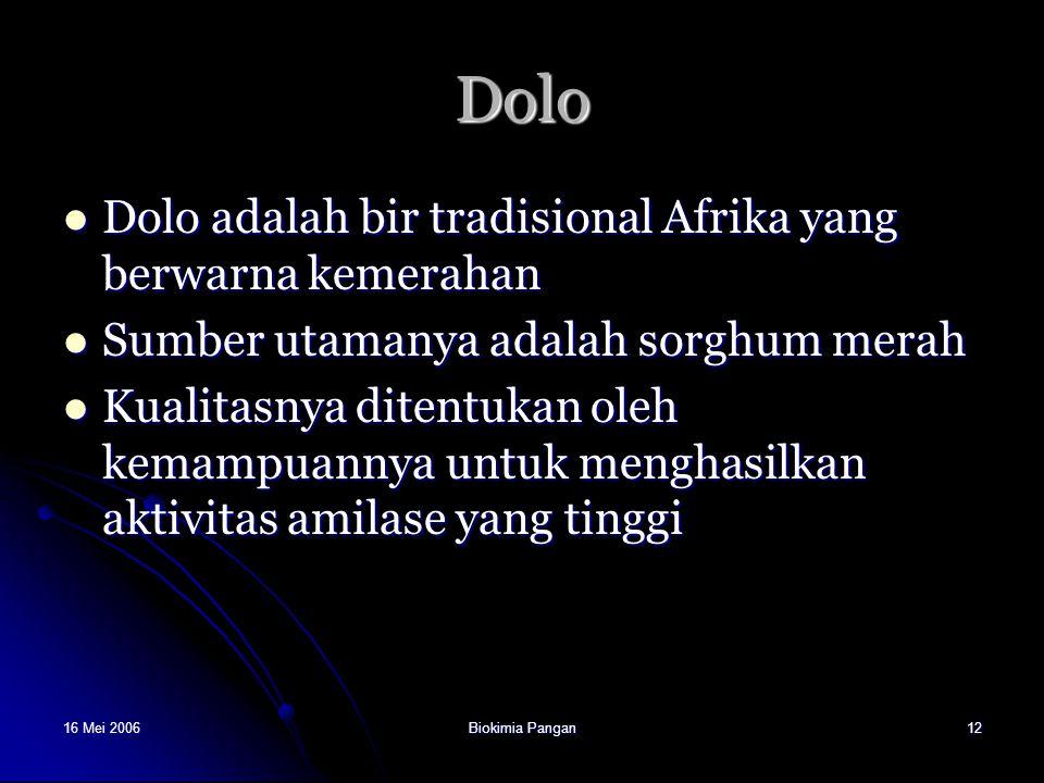 16 Mei 2006Biokimia Pangan12 Dolo Dolo adalah bir tradisional Afrika yang berwarna kemerahan Dolo adalah bir tradisional Afrika yang berwarna kemeraha