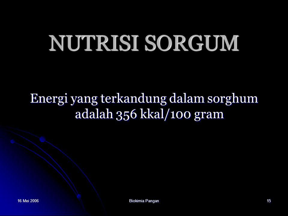 16 Mei 2006Biokimia Pangan15 NUTRISI SORGUM Energi yang terkandung dalam sorghum adalah 356 kkal/100 gram