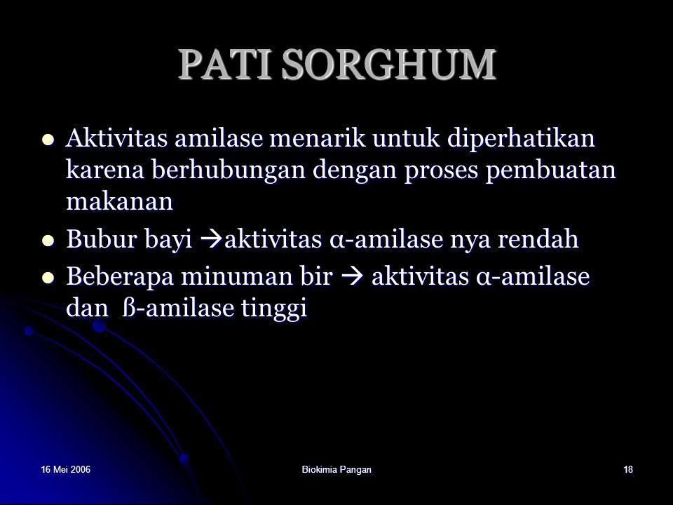 16 Mei 2006Biokimia Pangan18 PATI SORGHUM Aktivitas amilase menarik untuk diperhatikan karena berhubungan dengan proses pembuatan makanan Aktivitas am