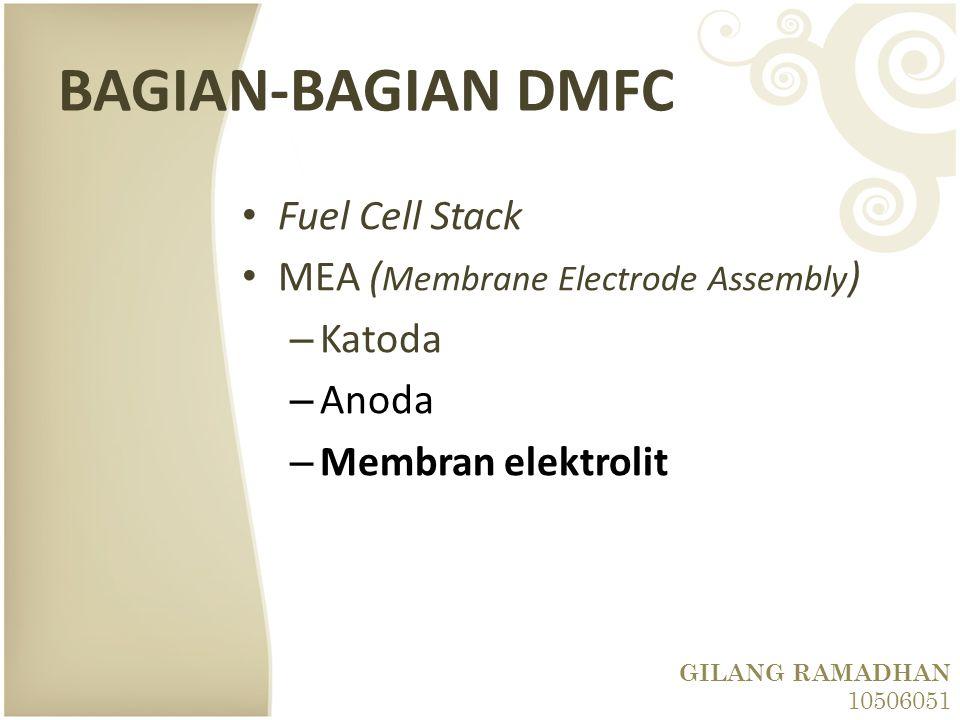 BAGIAN-BAGIAN DMFC Fuel Cell Stack MEA ( Membrane Electrode Assembly ) – Katoda – Anoda – Membran elektrolit GILANG RAMADHAN 10506051