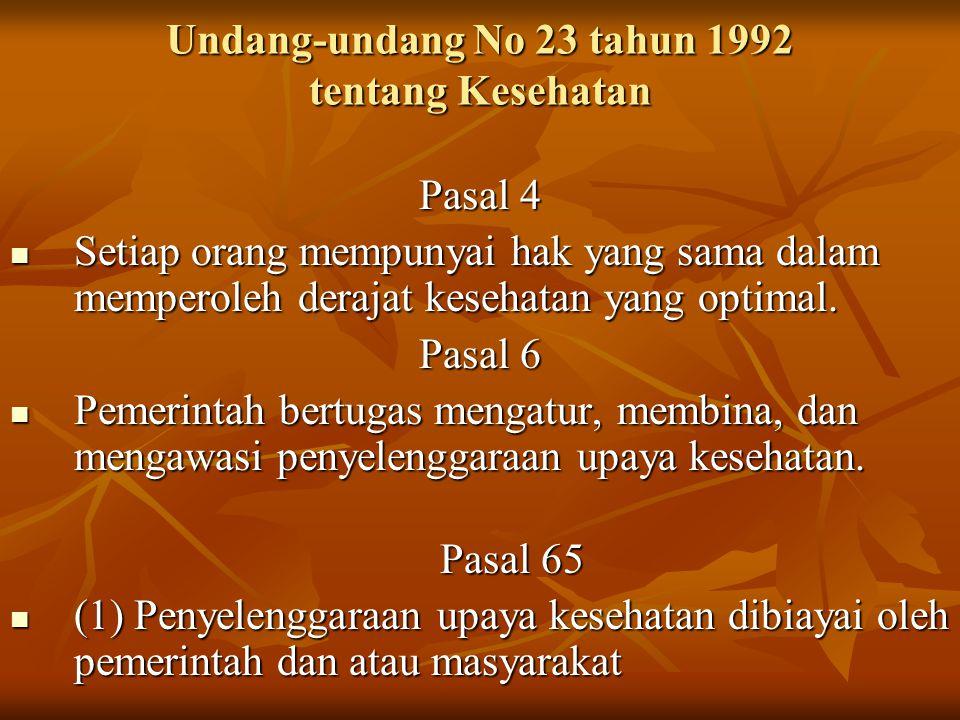 Undang-undang No 23 tahun 1992 tentang Kesehatan Pasal 4 Setiap orang mempunyai hak yang sama dalam memperoleh derajat kesehatan yang optimal.