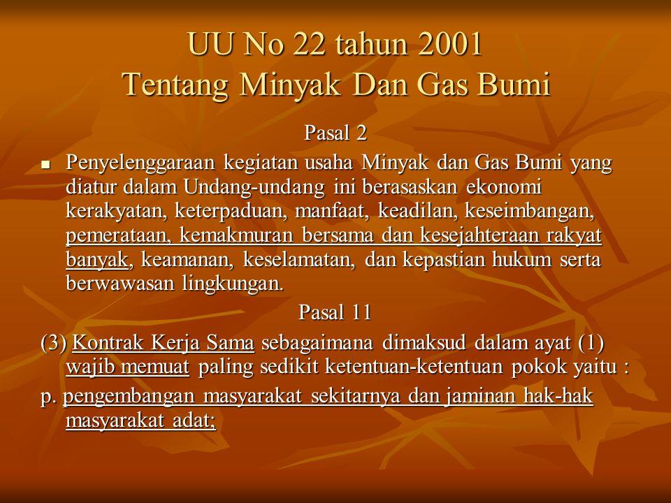 UU No 22 tahun 2001 Tentang Minyak Dan Gas Bumi Pasal 2 Penyelenggaraan kegiatan usaha Minyak dan Gas Bumi yang diatur dalam Undang-undang ini berasaskan ekonomi kerakyatan, keterpaduan, manfaat, keadilan, keseimbangan, pemerataan, kemakmuran bersama dan kesejahteraan rakyat banyak, keamanan, keselamatan, dan kepastian hukum serta berwawasan lingkungan.