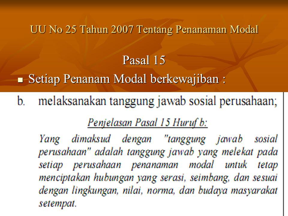 UU No 25 Tahun 2007 Tentang Penanaman Modal Pasal 15 Setiap Penanam Modal berkewajiban : Setiap Penanam Modal berkewajiban :