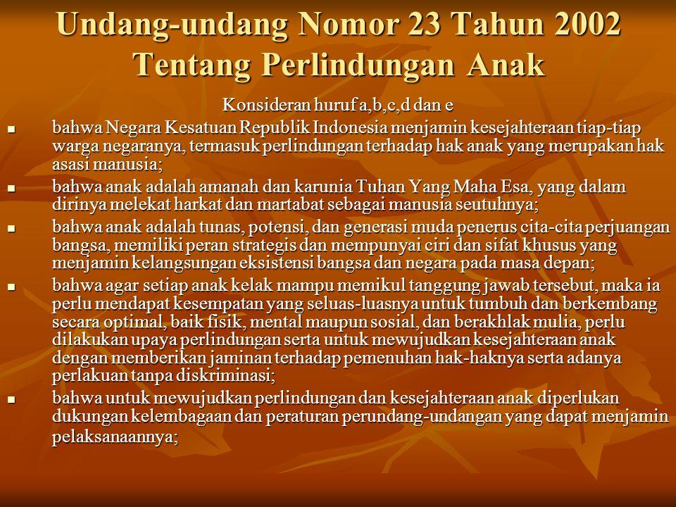 Undang-undang Nomor 23 Tahun 2002 Tentang Perlindungan Anak Konsideran huruf a,b,c,d dan e bahwa Negara Kesatuan Republik Indonesia menjamin kesejahteraan tiap-tiap warga negaranya, termasuk perlindungan terhadap hak anak yang merupakan hak asasi manusia; bahwa Negara Kesatuan Republik Indonesia menjamin kesejahteraan tiap-tiap warga negaranya, termasuk perlindungan terhadap hak anak yang merupakan hak asasi manusia; bahwa anak adalah amanah dan karunia Tuhan Yang Maha Esa, yang dalam dirinya melekat harkat dan martabat sebagai manusia seutuhnya; bahwa anak adalah amanah dan karunia Tuhan Yang Maha Esa, yang dalam dirinya melekat harkat dan martabat sebagai manusia seutuhnya; bahwa anak adalah tunas, potensi, dan generasi muda penerus cita-cita perjuangan bangsa, memiliki peran strategis dan mempunyai ciri dan sifat khusus yang menjamin kelangsungan eksistensi bangsa dan negara pada masa depan; bahwa anak adalah tunas, potensi, dan generasi muda penerus cita-cita perjuangan bangsa, memiliki peran strategis dan mempunyai ciri dan sifat khusus yang menjamin kelangsungan eksistensi bangsa dan negara pada masa depan; bahwa agar setiap anak kelak mampu memikul tanggung jawab tersebut, maka ia perlu mendapat kesempatan yang seluas-luasnya untuk tumbuh dan berkembang secara optimal, baik fisik, mental maupun sosial, dan berakhlak mulia, perlu dilakukan upaya perlindungan serta untuk mewujudkan kesejahteraan anak dengan memberikan jaminan terhadap pemenuhan hak-haknya serta adanya perlakuan tanpa diskriminasi; bahwa agar setiap anak kelak mampu memikul tanggung jawab tersebut, maka ia perlu mendapat kesempatan yang seluas-luasnya untuk tumbuh dan berkembang secara optimal, baik fisik, mental maupun sosial, dan berakhlak mulia, perlu dilakukan upaya perlindungan serta untuk mewujudkan kesejahteraan anak dengan memberikan jaminan terhadap pemenuhan hak-haknya serta adanya perlakuan tanpa diskriminasi; bahwa untuk mewujudkan perlindungan dan kesejahteraan anak diperlukan dukun