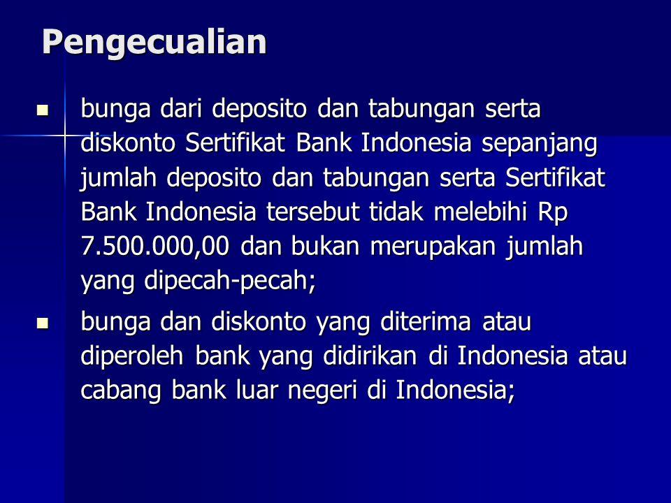 Pengecualian bunga dari deposito dan tabungan serta diskonto Sertifikat Bank Indonesia sepanjang jumlah deposito dan tabungan serta Sertifikat Bank In