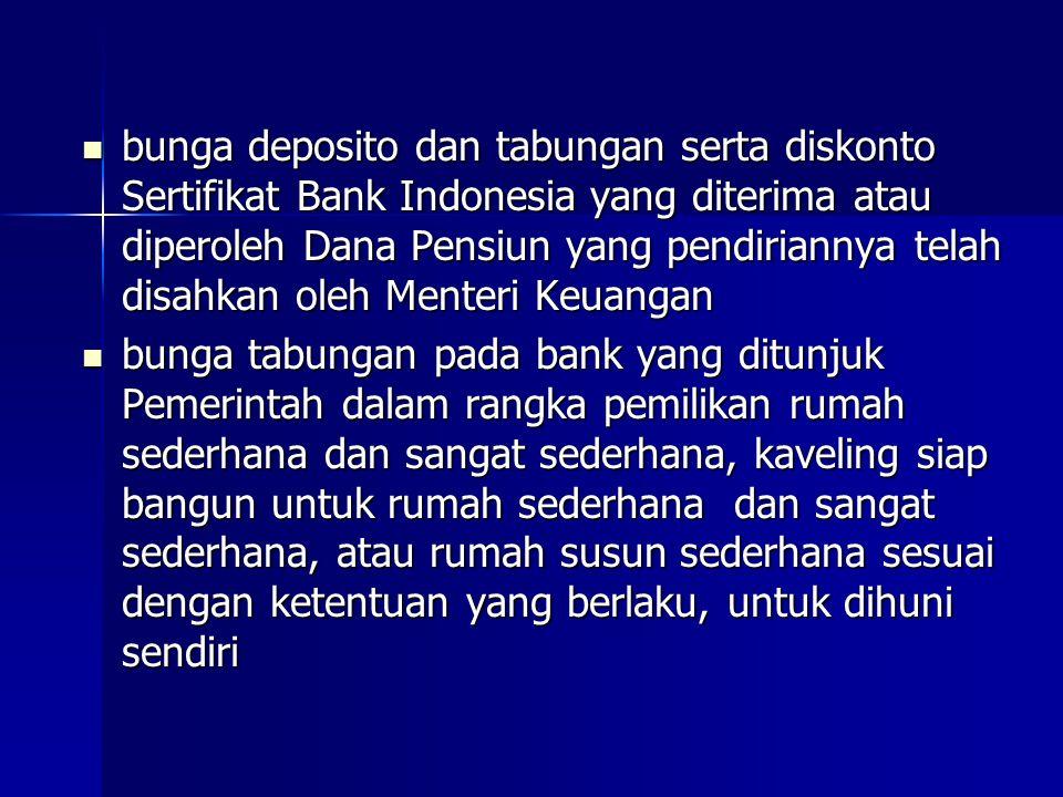 bunga deposito dan tabungan serta diskonto Sertifikat Bank Indonesia yang diterima atau diperoleh Dana Pensiun yang pendiriannya telah disahkan oleh M