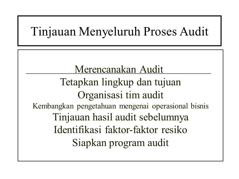 Tinjauan Menyeluruh Proses Audit Merencanakan Audit Tetapkan lingkup dan tujuan Organisasi tim audit Kembangkan pengetahuan mengenai operasional bisni