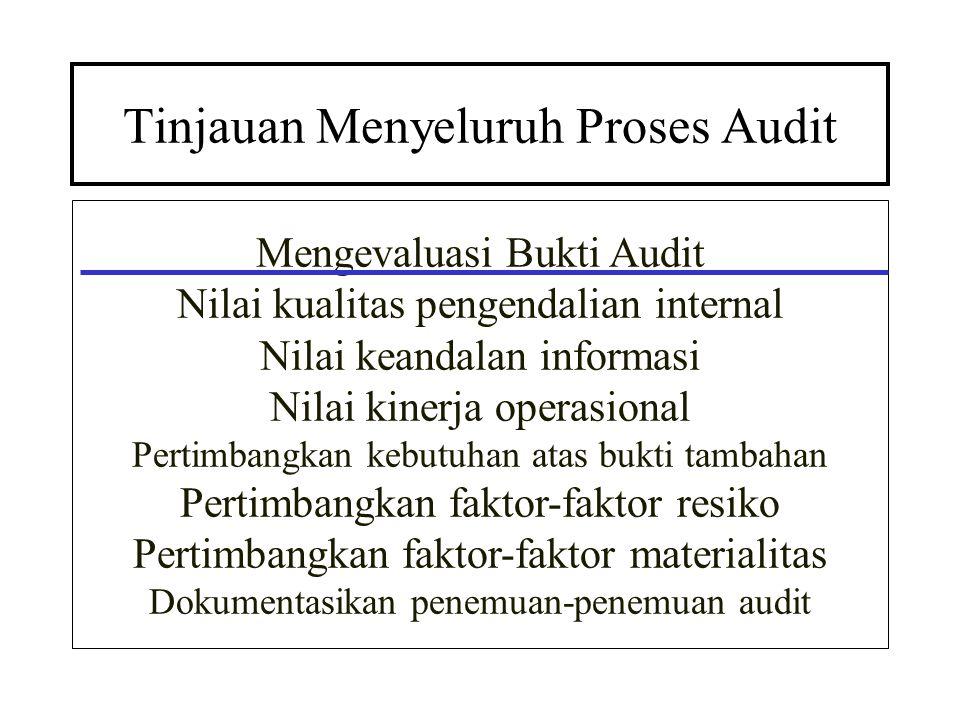 Tinjauan Menyeluruh Proses Audit Mengevaluasi Bukti Audit Nilai kualitas pengendalian internal Nilai keandalan informasi Nilai kinerja operasional Per