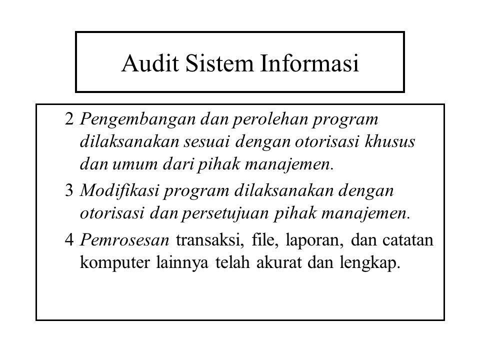 Audit Sistem Informasi 2Pengembangan dan perolehan program dilaksanakan sesuai dengan otorisasi khusus dan umum dari pihak manajemen. 3Modifikasi prog