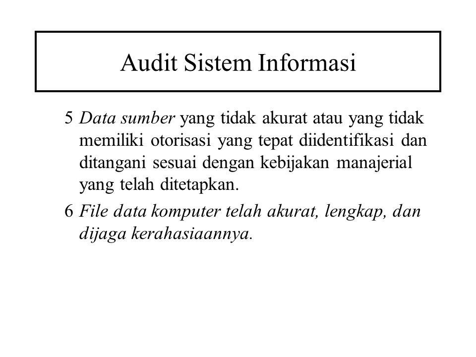 Audit Sistem Informasi 5Data sumber yang tidak akurat atau yang tidak memiliki otorisasi yang tepat diidentifikasi dan ditangani sesuai dengan kebijak