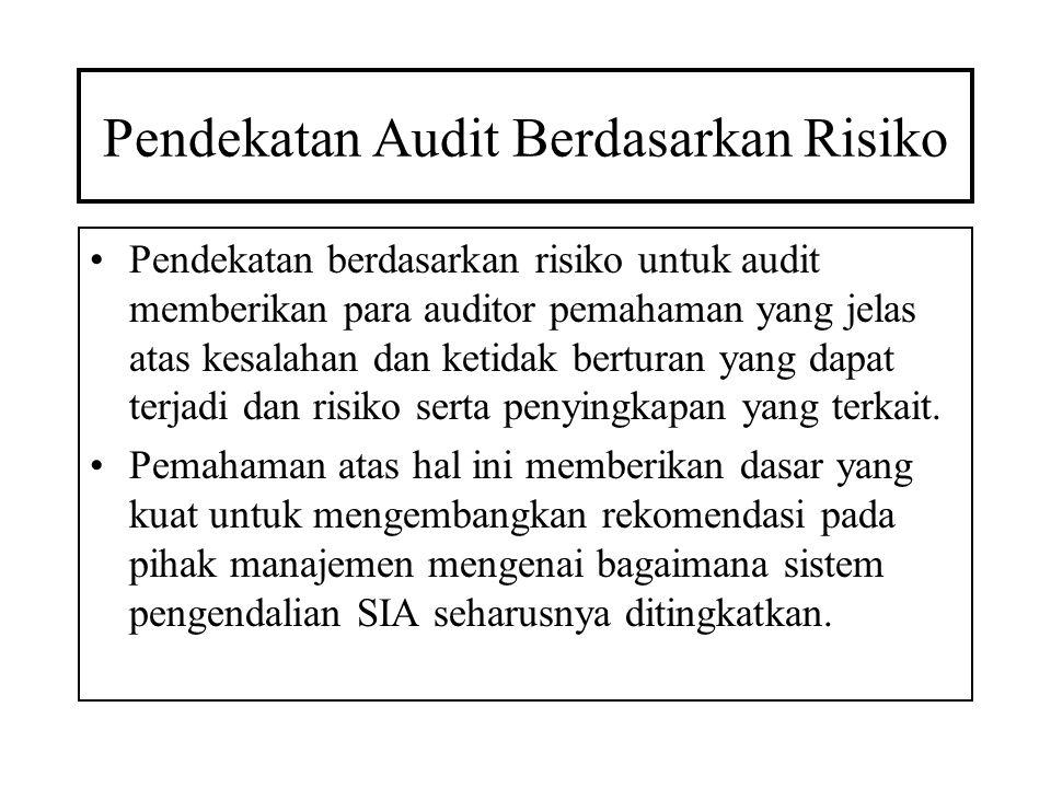 Pendekatan Audit Berdasarkan Risiko Pendekatan berdasarkan risiko untuk audit memberikan para auditor pemahaman yang jelas atas kesalahan dan ketidak
