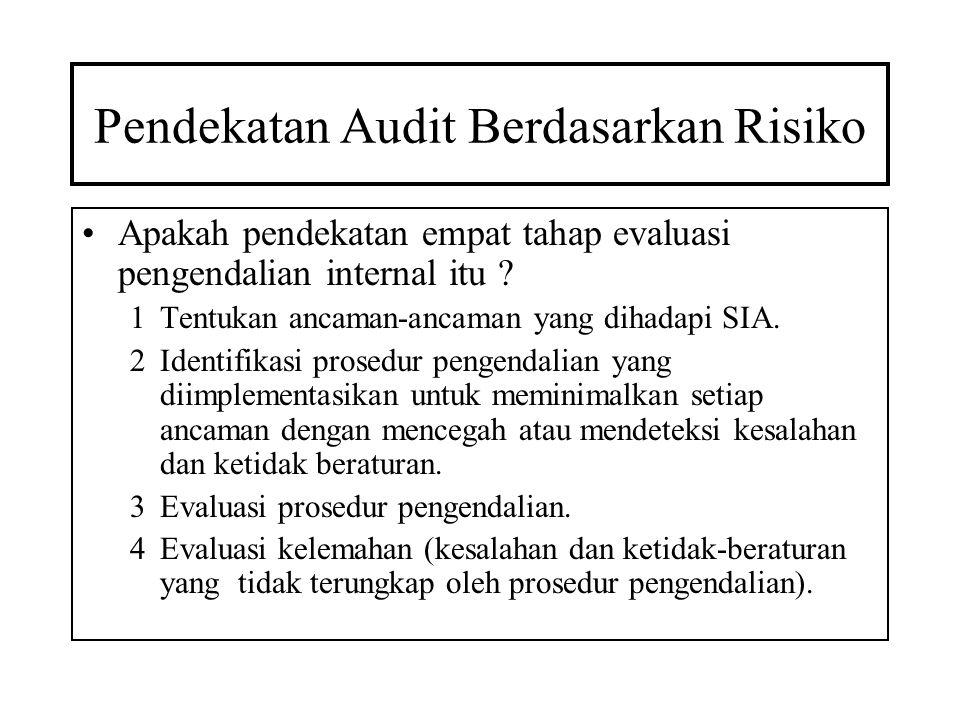 Pendekatan Audit Berdasarkan Risiko Apakah pendekatan empat tahap evaluasi pengendalian internal itu ? 1Tentukan ancaman-ancaman yang dihadapi SIA. 2I