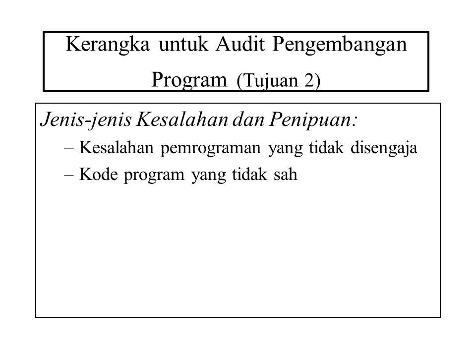 Kerangka untuk Audit Pengembangan Program (Tujuan 2) Jenis-jenis Kesalahan dan Penipuan: –Kesalahan pemrograman yang tidak disengaja –Kode program yan