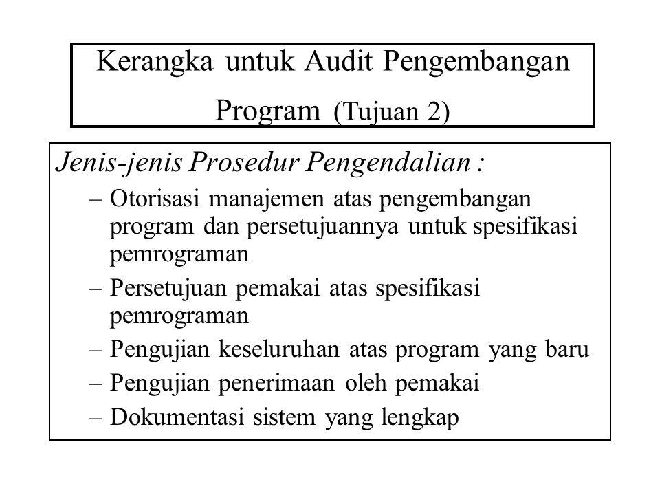 Kerangka untuk Audit Pengembangan Program (Tujuan 2) Jenis-jenis Prosedur Pengendalian : –Otorisasi manajemen atas pengembangan program dan persetujua