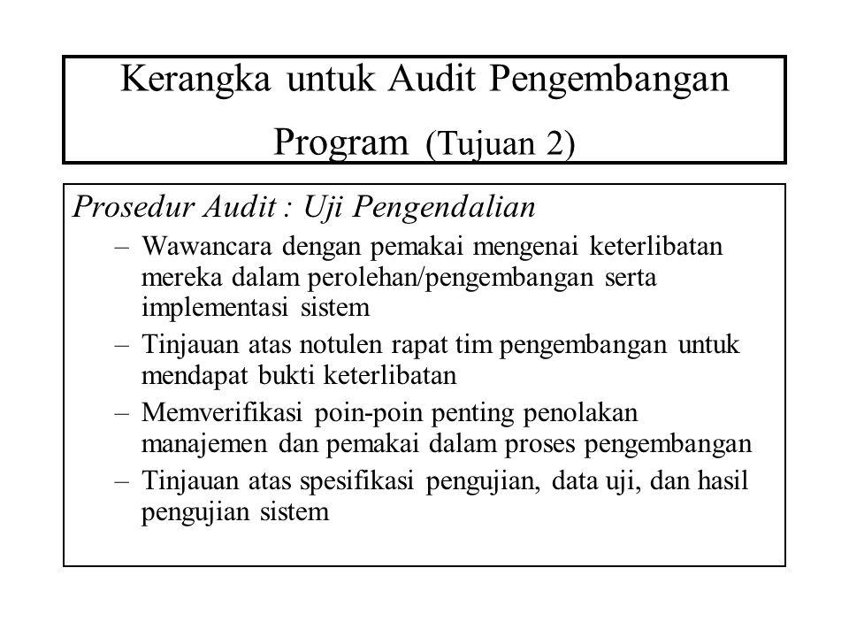 Kerangka untuk Audit Pengembangan Program (Tujuan 2) Prosedur Audit : Uji Pengendalian –Wawancara dengan pemakai mengenai keterlibatan mereka dalam pe